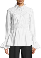 Beaufille Galileo Smocked Long-Sleeve Cotton Shirting Blouse