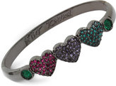 Betsey Johnson Hematite-Tone Pavé Heart Bangle Bracelet
