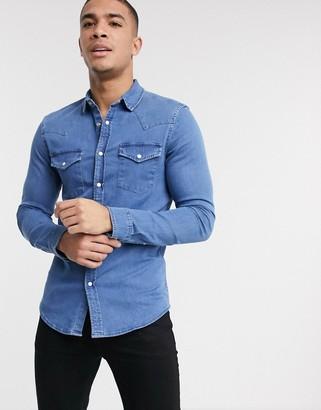 Asos DESIGN skinny fit western organic denim shirt in mid wash