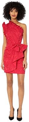 ML Monique Lhuillier One Shoulder Dress with Ruffle Trim Front Bow (Lipstick) Women's Clothing