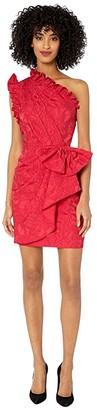 ML Monique Lhuillier One Shoulder Dress with Ruffle Trim Front Bow (Lipstick) Women's Clothing
