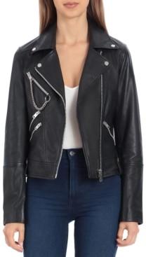 AVEC LES FILLES Leather Hardware-Trimmed Moto Jacket
