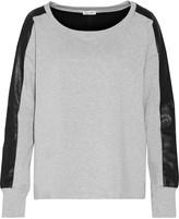 Splendid Mix Media faux leather-paneled stretch-jersey sweatshirt