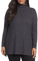 Sejour Plus Size Women's Mock Neck Rib Knit Tunic