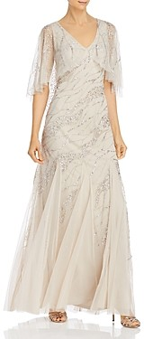 Adrianna Papell Beaded Mesh-Cape Gown