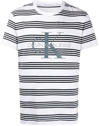 Calvin Klein Jeans striped logo cotton T-shirt