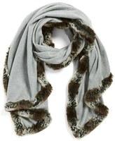 Badgley Mischka Women's Faux Fur Trim Wrap