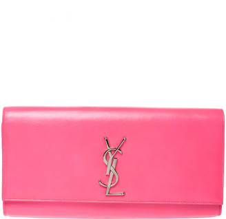 Saint Laurent Neon Pink Leather Cassandre Clutch