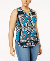 INC International Concepts Plus Size Printed Zip-Detail Shirt, Created for Macy's