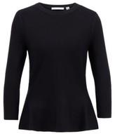 HUGO BOSS - Slim Fit Sweater With Peplum Hem And Crew Neckline - Black