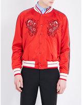 Alexander Mcqueen Skull-embroidered Shell Bomber Jacket