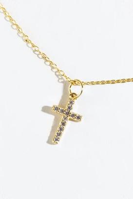 francesca's Maya CZ Cross Pendant Necklace - Gold
