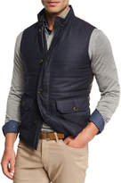 Peter Millar Icefield Wool Vest with Leather Back, Starlight Blue