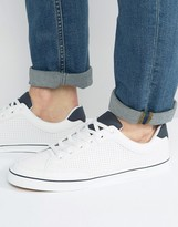Pull&Bear Perforated Sneakers In White With Navy Trim