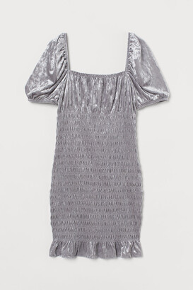 H&M Smocked Velour Dress - Gray
