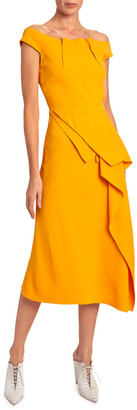 Roland Mouret Arch Off-the-Shoulder Asymmetric Dress