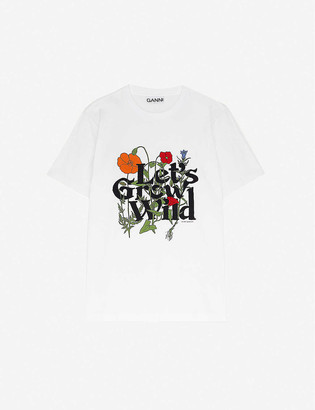 Ganni Graphic-print cotton-jersey T-shirt