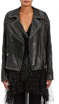 Valentino Women's Embellished Leather Moto Jacket-BLACK
