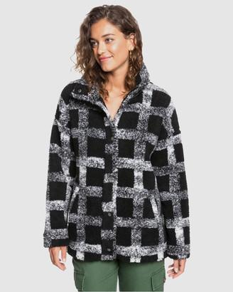 Roxy Womens Set Your Sights Check Sherpa Jacket