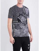 Versace Medusa-print Striped Cotton-jersey T-shirt