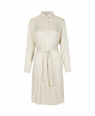 Samsoe & Samsoe Warm White Cissa Jacquard Shirt Dress - xs