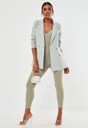 Missguided Khaki Jersey Bust Cup Sleeveless Jumpsuit