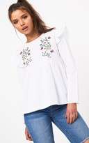 PrettyLittleThing White Embroidered Frill Shoulder Shirt