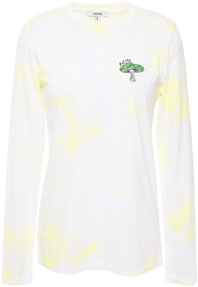 Ganni Embroidered Tie-dyed Cotton-jersey Top