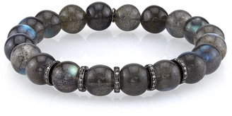 Sheryl Lowe 10mm Labradorite Beaded Bracelet with Diamond Rondelles, 0.73 TCW