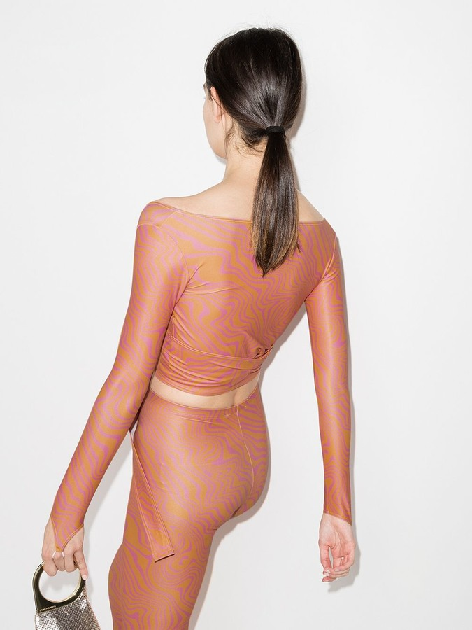 Thumbnail for your product : MAISIE WILEN Marble Print Wrap-Style Top