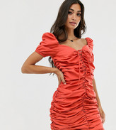 Glamorous Petite ruched front dress with tie front