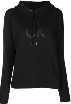 Calvin Klein Drawstring Logo-Patch Hoodie