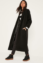 Missguided Black Shawl Collar Faux Wool Maxi Coat