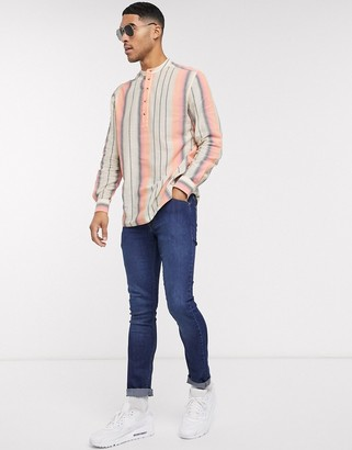 ASOS DESIGN regular fit vintage stripe shirt with grandad collar