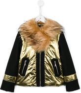 No21 Kids - faux fur collar jacket - kids - Acrylic/Polyamide/Polyester/Wool - 11 yrs