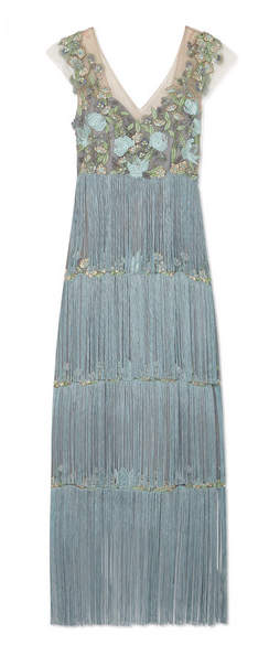 Marchesa Fringed Embellished Tulle And Satin Gown - Light blue