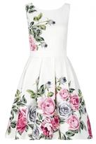 Quiz Cream Floral Print Prom Dress