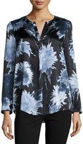Lafayette 148 New York Samantha Floral-Print Silk Top, Ink Multi