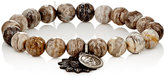 Miracle Icons Men's Silver Leaf Jasper Bead & Charm Bracelet