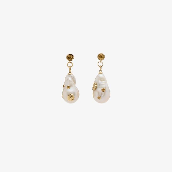 Yvonne Léon 9K yellow gold pearl citrine earrings