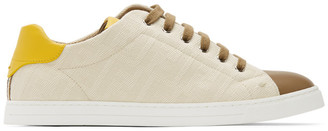 Fendi Beige and Brown Canvas Leather Sneakers