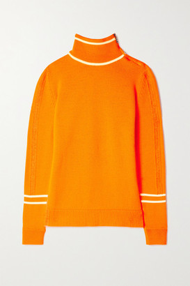 Bogner Xila Embossed Mohair-blend And Cashmere Turtleneck Sweater - Bright orange