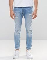 G Star G-Star 3301-A Super Slim Jeans Distressed Repair Light Aged