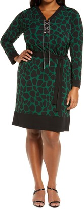 MICHAEL Michael Kors Giraffe Lace-Up Long Sleeve Dress
