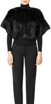 Max Studio Blocked Fur Knit Short Sleeved Pullover