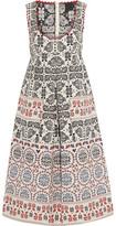 Anna Sui Pleated Metallic Cotton-Blend Jacquard Dress