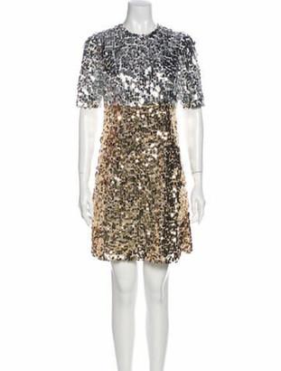 Dolce & Gabbana Colorblock Pattern Mini Dress Silver