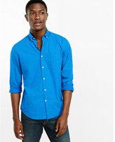 Express soft wash blue micro print shirt