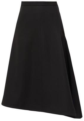 Jil Sander Asymmetric Wool-crepe Midi Skirt - Womens - Black