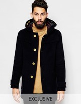 Gloverall Duffle Coat With Contrast Buttons Exclusive - Navy